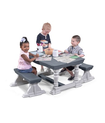493999 3 Piece Farmhouse Table and Bench Set 001