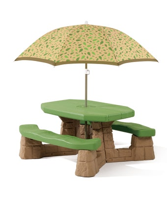 787799 Naturally Playful Picnic Table with Leaf Umbrella 001