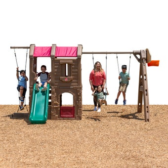 801300 Naturally Playful Adventure Lodge Play Center Swing Set With Slide Tan 001