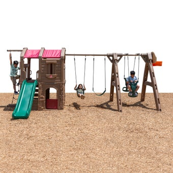801400 Naturally Playful Adventure Lodge Play Center Swing Set With Slide With Glider Tan 001