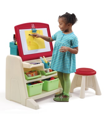 836500 Flip and Doodle Easel Desk With Stool Teal and Lime 001