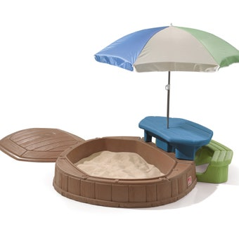 843700 Naturally Playful Summertime Play Center Sandbox With Lid Blue Green And Beige 001